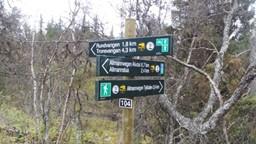 En flott knutepunkt ved  Tveråa  (der skiløypa mellom Nordpåsetra mot Rundvangen  går). Flotte informative skilt som øke turgleden.